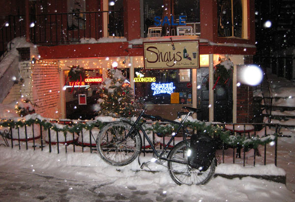 Shay's on a snowy night